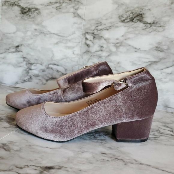 86ce9ae1929 Torrid Velvet Block Heels Ankle Strap Wide Width Boutique